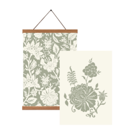 Poster set A3 - Carved Flowery (green)