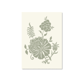 Kaart A6 - Carved Flowery illustration (mint)