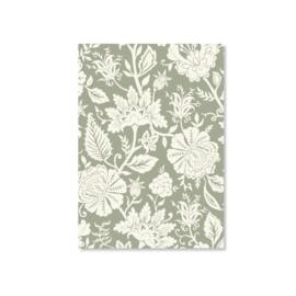 Kaart A6 - Carved Flower (mint)