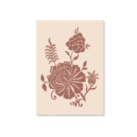 Kaart A6 - Carved Flowery illustration (terra)