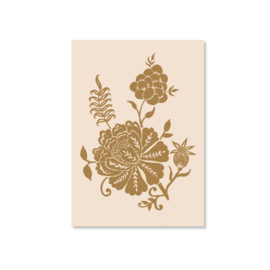 Kaart A6 - Carved Flowery illustration (gold)