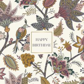 Wenskaart - Indian floral 'happy birthday'