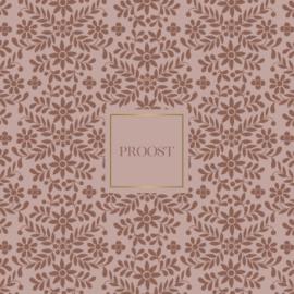 Wenskaart - Polka flowers 'proost'