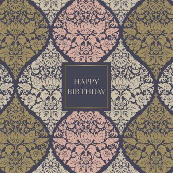 Wenskaart - Ogee baroque 'happy birthday'