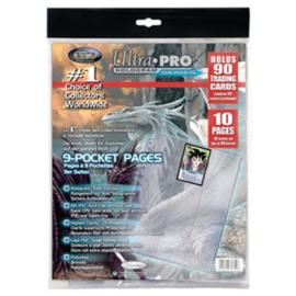 Ultra Pro - 9 Pocket 11 Hole Platinum Page 10 Pack