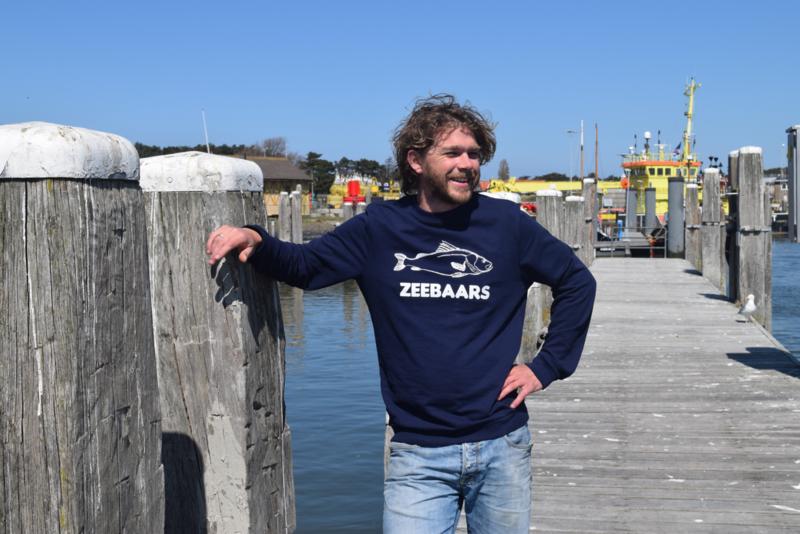 Unisex sweater 'Zeebaars' - maat S