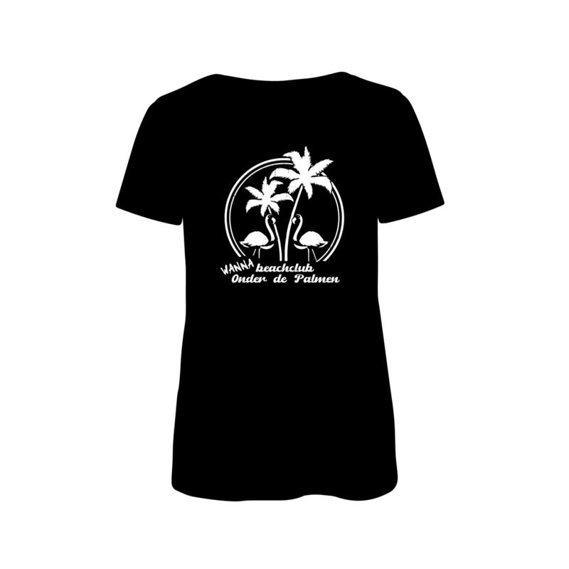 Dames shirt 'WannaBeachclub Onder de Palmen' - maat M (zwart)