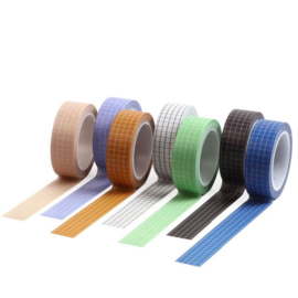Washi Tape Grid 10m - Diverse kleuren