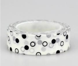 Decoratieve Dots wit/zwart op Witte Washi Tape