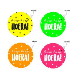 Wensetiket 'Hiep Hiep Hoera' Neon (10 stuks)