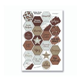 Stickervel 'Hexagon Tinten Bruin' YP