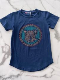 """T-shirt """"Blauw"""" met een leeuwen logo"""