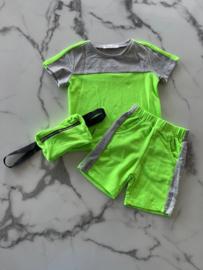 3 delig sport setje Lime groen, vanaf maat 104