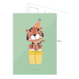 Tante Kaartje - Ansichtkaart  - Party tijger