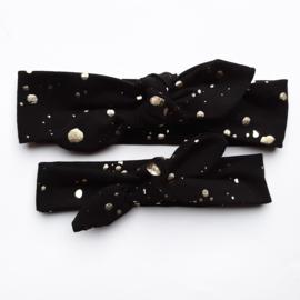 Haarband Zwart golden drops