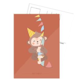 Tante Kaartje - Ansichtkaart  - Party aap