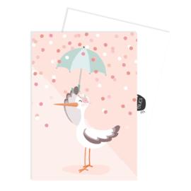 Tante Kaartje - Ansichtkaart  - Ooievaar met roze achtergrond