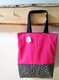 The Bag Pink06 black dots
