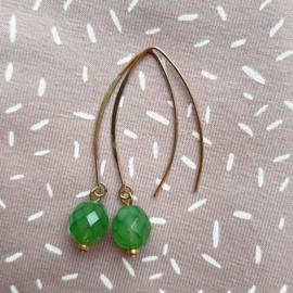 Oorbellen - Lang groen facet kraal
