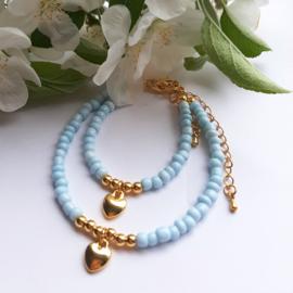 Moeder - Dochter armbandjes - Blauw