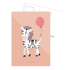Tante Kaartje - Ansichtkaart  - Party Zebra