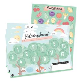Tante Kaartje - Beloningskaart + stickers FRUITY