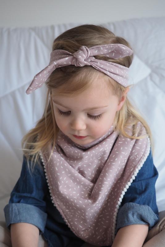 Kids puntsjaal - Poeder roze sprinkles