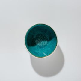 Kom wit & aqua blauw van aardewerk 10,5 x 9 x 4 cm