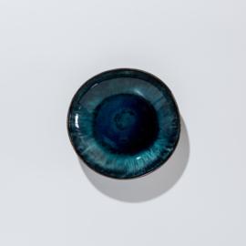 Blauw/zwart kommetje van aardewerk 16,5 Ø cm