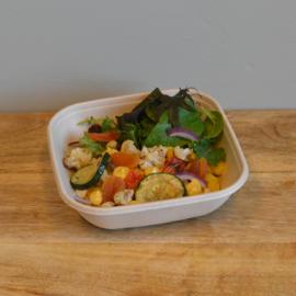 Lunchsalade Bulger, gewelde abrikoos en geroosterde groente (V)