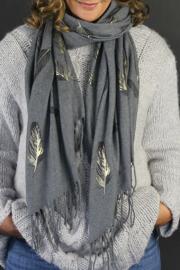 Sjaal grijs veren goud