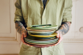 70s ceramics: dinner plates, kiwi (set of 2)*