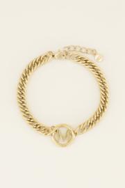 Chuncky initials armband goud