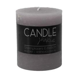 Candle junkie grijs 8cm