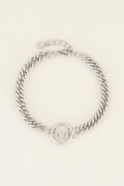 Chuncky initials armband zilver