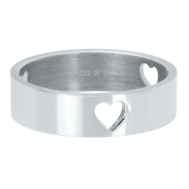 3 hearts open zilver