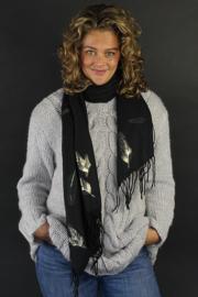 Sjaal zwart veren goud