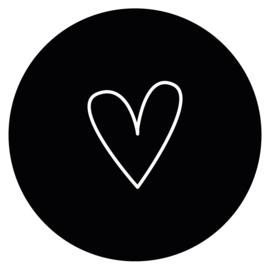 Muurcirkel Hart zwart 30cm