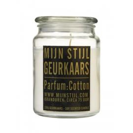 Geurkaars Xl pot glas geur cotton sojabasis