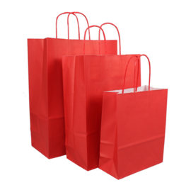 Tas, Wit kraft, Gedraaid papieren koord, 18x 8x22cm, draagtas, rood