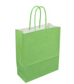 Tas, Wit kraft, Gedraaid papieren koord, 18x 8x22cm, draagtas, groen