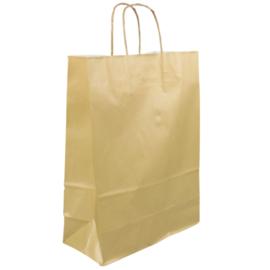 Tas, Wit kraft, Gedraaid papieren koord, 18x 8x22cm, draagtas, goud