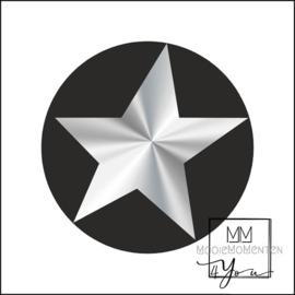 Semi stickers ster Zilver Zwart
