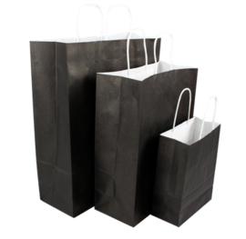 Tas, Wit kraft, Gedraaid papieren koord, 18x 8x22cm, draagtas, zwart