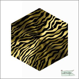 Hexagon Stickers Zebra Goud