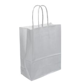 Tas, Wit kraft, Gedraaid papieren koord, 18x 8x22cm, draagtas, zilver