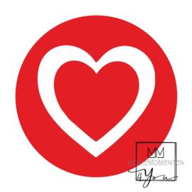 Hart stickers XXL Rood