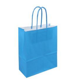 Tas, Wit kraft, Gedraaid papieren koord, 18x 8x22cm, draagtas, blauw