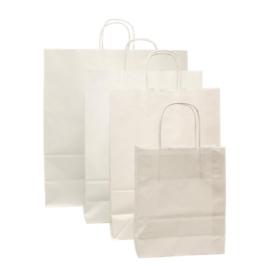 Tas, Wit kraft, Gedraaid papieren koord, 18x 8x22cm, draagtas, wit