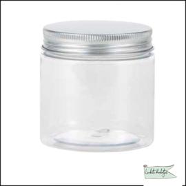 Pot met deksel groot in zilver kleur